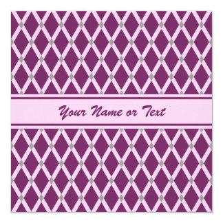 Dark Purple Diamonds-Pink Frames Invitation