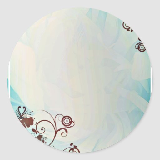Dark Purple floral on creative blue design Round Stickers