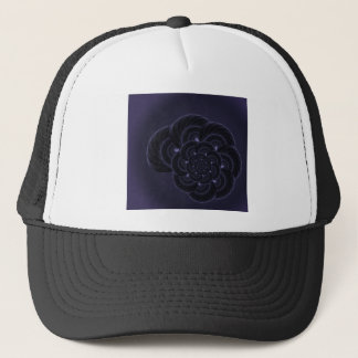 Dark Purple Flower Graphic. Spiral. Trucker Hat