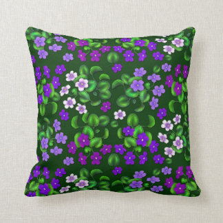 Dark Purple Garden Violet Flowers Pillow