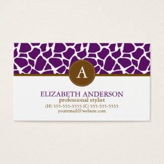Dark Purple Giraffe Pattern Monogram