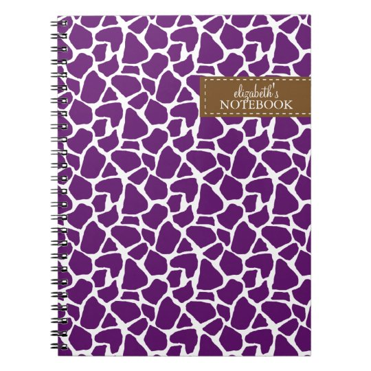 Dark Purple Giraffe Pattern Notebooks