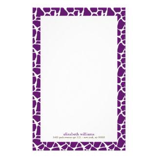 Dark Purple Giraffe Pattern Stationery