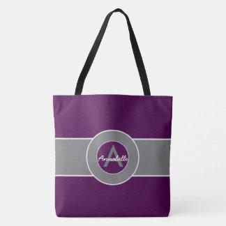Dark Purple Gray Monogram Personalized Tote Bag