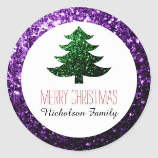 Dark Purple Green Christmas tree sparkles Gift Tag