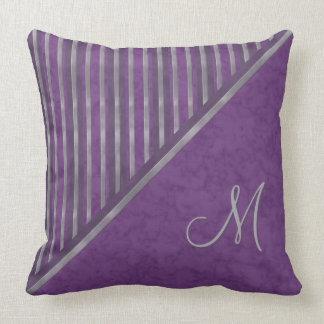 Dark Purple Lavender Stripe Monogram Cushion