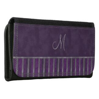 Dark Purple Metallic Lavender Monogram Leather Wallet For Women