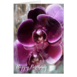 Dark Purple Moth Orchids Card