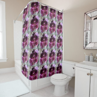 Dark Purple Moth Orchids Shower Curtain
