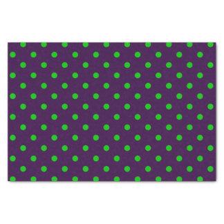 Dark Purple & Neon Green Polka Dots Tissue Paper