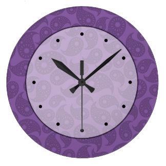 Dark Purple Paisley. Clocks