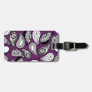 Dark Purple Paisley Luggage Tag
