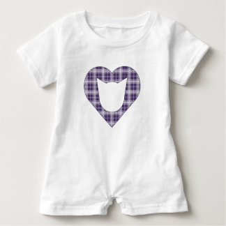 Dark Purple Plaid Cat/Heart Romper Baby Bodysuit