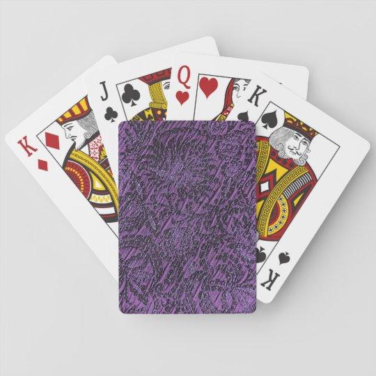 Dark Purple Regal Fabric look Playing Cards