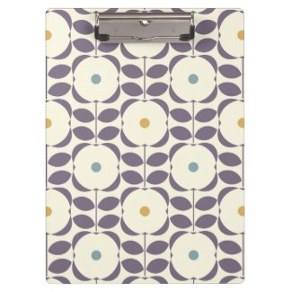 Dark Purple Retro Floral Pattern Clipboard