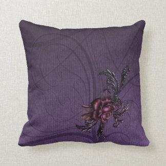Dark Purple Rose Throw Cushions
