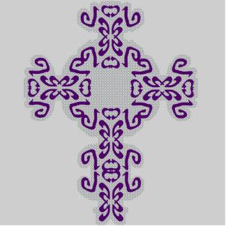 Dark Purple Scrolls Cross Acrylic Sculpture Cutout Standing Photo Sculpture
