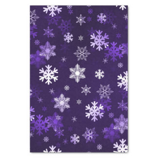Dark Purple Snowflakes Tissue Paper