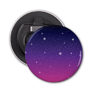 Dark Purple Starry Night Sky Bottle Opener