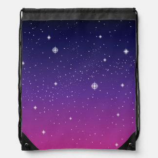 Dark Purple Starry Night Sky Drawstring Bag