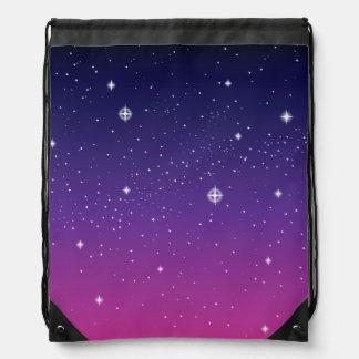 Dark Purple Starry Night Sky Drawstring Bag