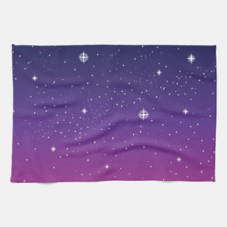 Dark Purple Starry Night Sky Tea Towel