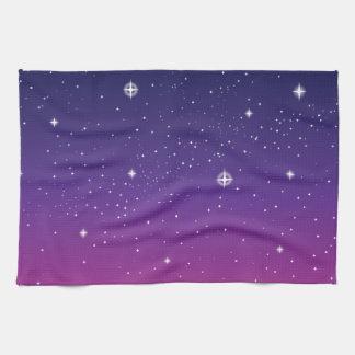 Dark Purple Starry Night Sky Towels