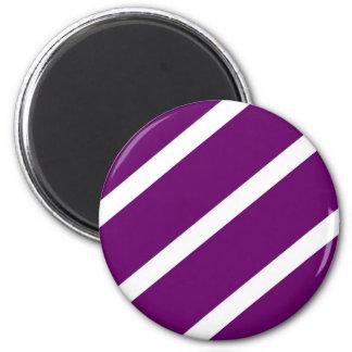 Dark Purple Stripes 6 Cm Round Magnet