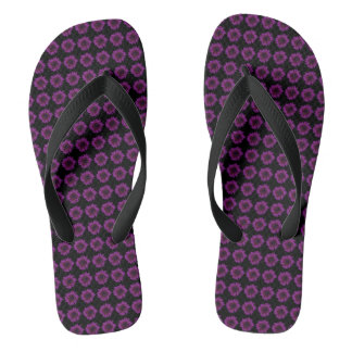 Dark Purple Sunflower Motif on Flip Flops