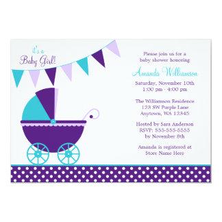 Dark Purple Teal Bunting Carriage Baby Shower 13 Cm X 18 Cm Invitation Card
