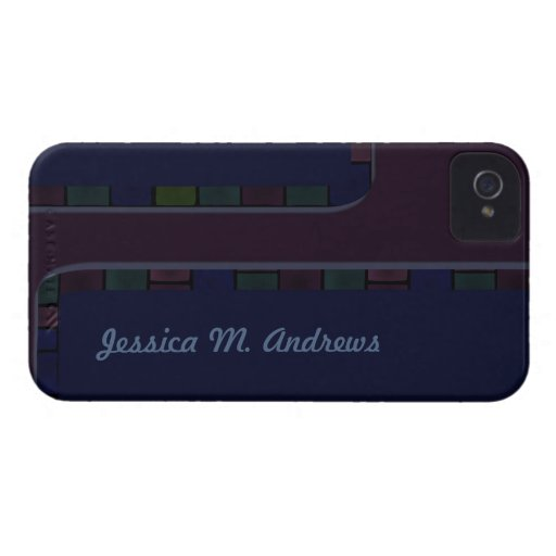 dark purple tile border Case-Mate iPhone 4 case