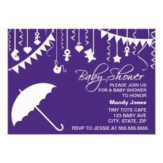 Dark purple umbrella modern baby shower invitation