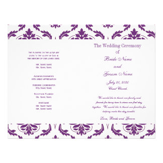 Dark Purple Vintage Damask Wedding Program Flyer Design