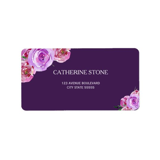 Dark purple violet peony flowers elegant wedding label