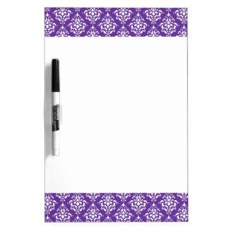 Dark Purple White Vintage Damask Pattern 1 Dry Erase Board