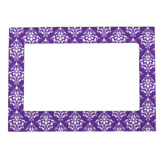 Dark Purple White Vintage Damask Pattern 1 Magnetic Picture Frame