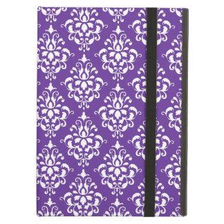 Dark Purple White Vintage Damask Pattern iPad Air Case