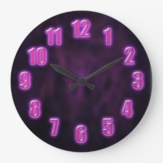 Dark purple with glowing neon numbers clock