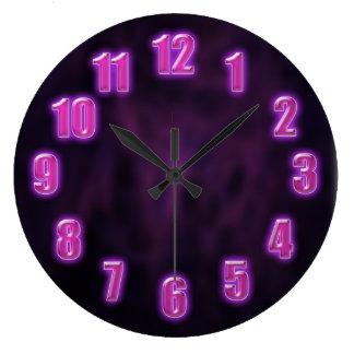 Dark purple with glowing neon numbers round wallclocks
