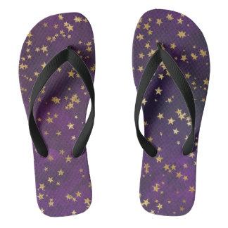 Dark Purple With Gold Stars Flip Flops