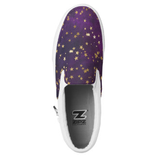 Dark Purple With Gold Stars Slip-On Shoes