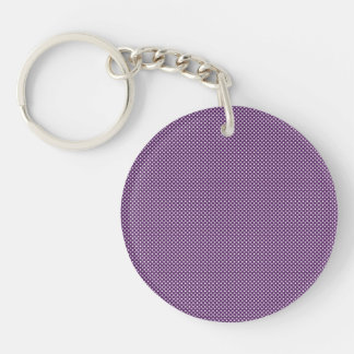 Dark Purple With Simple White Dots Keychains