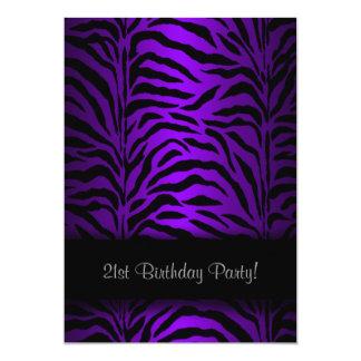 Dark Purple Zebra Womans 21st Birthday Party 13 Cm X 18 Cm Invitation Card