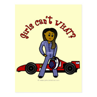 Dark Race Car Driver Girl Postcard