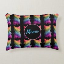 Dark Rainbow Glitter Cats Design Decorative Cushion