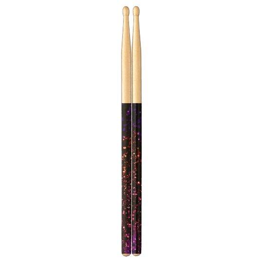 Dark Rainbow Glitter Effect Custom Drumsticks