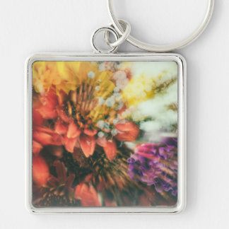 Dark Rainbow II Silver-Colored Square Key Ring