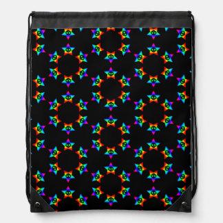 Dark Rainbow Star Skulls 2 drawstring backpack