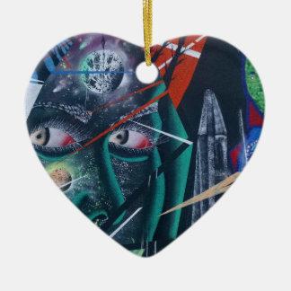 Dark Rave Graffiti Ceramic Heart Decoration