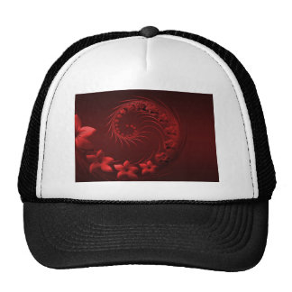 Dark Red Abstract Flowers Mesh Hats
